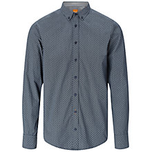 Buy BOSS Orange Edipoe Long Sleeve Geo Print Shirt, Dark Blue Online at johnlewis.com