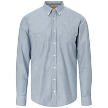 Buy BOSS Orange ElongE1 Cotton Shirt, Dark Blue Online at johnlewis.com