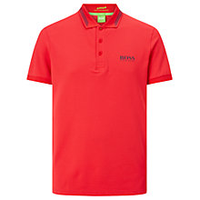 Buy BOSS Green Pro Golf Paule Pro 1 Stripe Collar Polo Shirt, Open Red Online at johnlewis.com