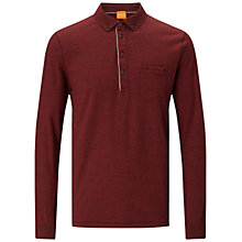 Buy BOSS Orange Patcherman Long Sleeve Polo Shirt, Medium Red Online at johnlewis.com