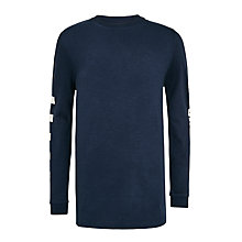Buy John Lewis Childrens' Sleeve Print T-Shirt, Navy Online at johnlewis.com