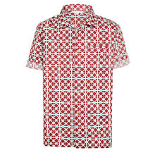 Buy John Lewis Childrens' Short Sleeve Print Shirt, Pink Online at johnlewis.com