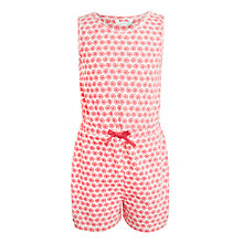 Buy John Lewis Girls' Geometric Floral Jersey Playsuit, Claret Online at johnlewis.com