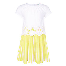 Buy John Lewis Girls' Broderie Stripe Dress, Limelight Yellow Online at johnlewis.com