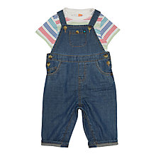 Buy John Lewis Baby Denim Dungaree and Striped T-Shirt Set, Blue Online at johnlewis.com