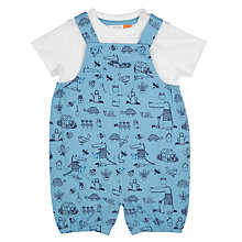 Buy John Lewis Baby Crocodile Garden Bibshort Set, Blue Online at johnlewis.com
