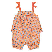 Buy John Lewis Baby Cuba Floral Romper Playsuit, Red Online at johnlewis.com