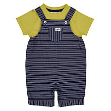Buy John Lewis Baby Variegated Stripe Bibshort Set, Navy/Multi Online at johnlewis.com