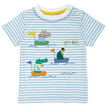 Buy John Lewis Baby Boat Race T-Shirt, Blue/White Online at johnlewis.com