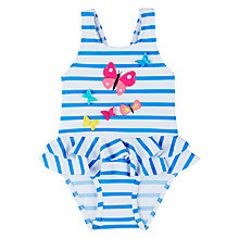 Buy John Lewis Baby Butterfly Applique Swimsuit, Blue/White Online at johnlewis.com