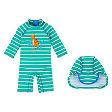 Buy John Lewis Baby Leopard UV SunPro Swimsuit and Hat, Green/Multi Online at johnlewis.com
