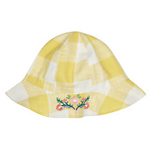 Buy John Lewis Baby Checked Woven Hat, Yellow Online at johnlewis.com