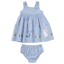 Buy John Lewis Baby Bunny Stripe Dress and Pant Set, Blue Online at johnlewis.com