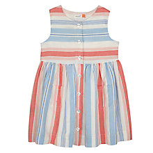 Buy John Lewis Baby Linen Stripe Dress, Blue/Red Online at johnlewis.com
