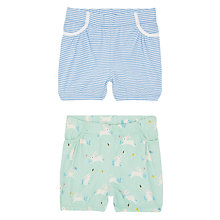 Buy John Lewis Baby Bunny and Striped Shorts, Pack of 2, Blue/Green Online at johnlewis.com