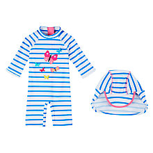 Buy John Lewis Baby Butterfly Striped UV SunPro Swimsuit and Hat, White/Blue Online at johnlewis.com