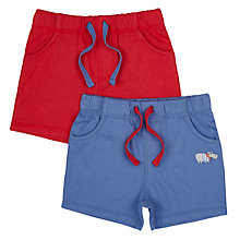 Buy John Lewis Baby Hippo Jersey Shorts, Pack of 2, Red/Blue Online at johnlewis.com