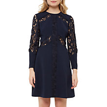 Buy Ted Baker Zerina Lace Insert Dress, Navy Online at johnlewis.com