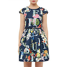 Buy Ted Baker Lusara A-Z Ditzy Skater Dress, Navy Online at johnlewis.com