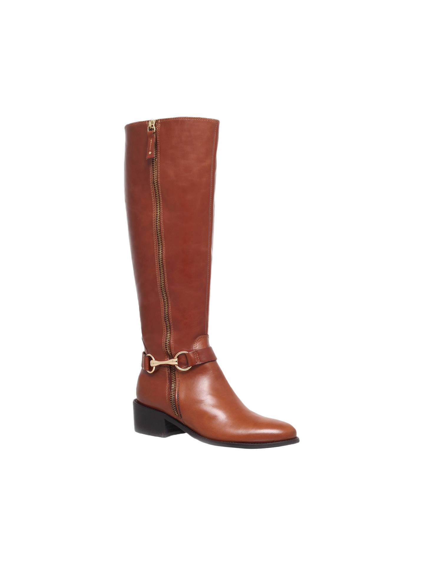 42e8d5f9cce5 Buy Carvela Waffle Leather Horsebit Trim Knee Boots, Tan, 3 Online at  johnlewis.