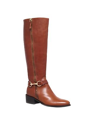Carvela Waffle Leather Horsebit Trim Knee High Boots