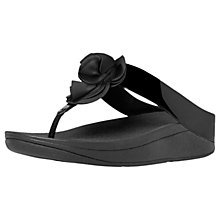 Buy FitFlop Florrie Toe Post Sandals, Black Patent Online at johnlewis.com
