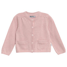 Buy Wheat Girls' Rosette Lurex Knit Cardigan, Powder Pink Online at johnlewis.com