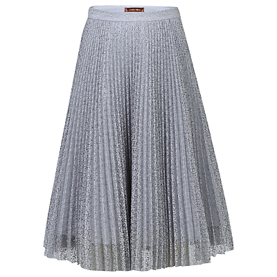 1920s Style Skirts Jolie Moi Pleated Lace A-Line Skirt Grey £24.00 AT vintagedancer.com