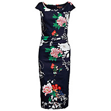 Buy Jolie Moi Floral Ruched Wiggle Dress, Navy Online at johnlewis.com