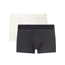 Buy Sunspel Dot Plain Trunks, Pack of 2, White/Navy Online at johnlewis.com