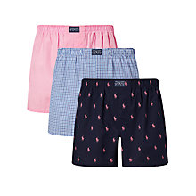 Buy Polo Ralph Lauren Woven Cotton Boxers, Pack of 3, Blue/Pink Online at johnlewis.com