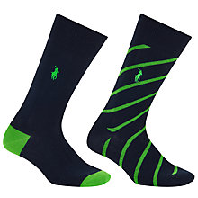 Buy Polo Ralph Lauren Diagonal Stripe Socks, Pack of 2 Online at johnlewis.com