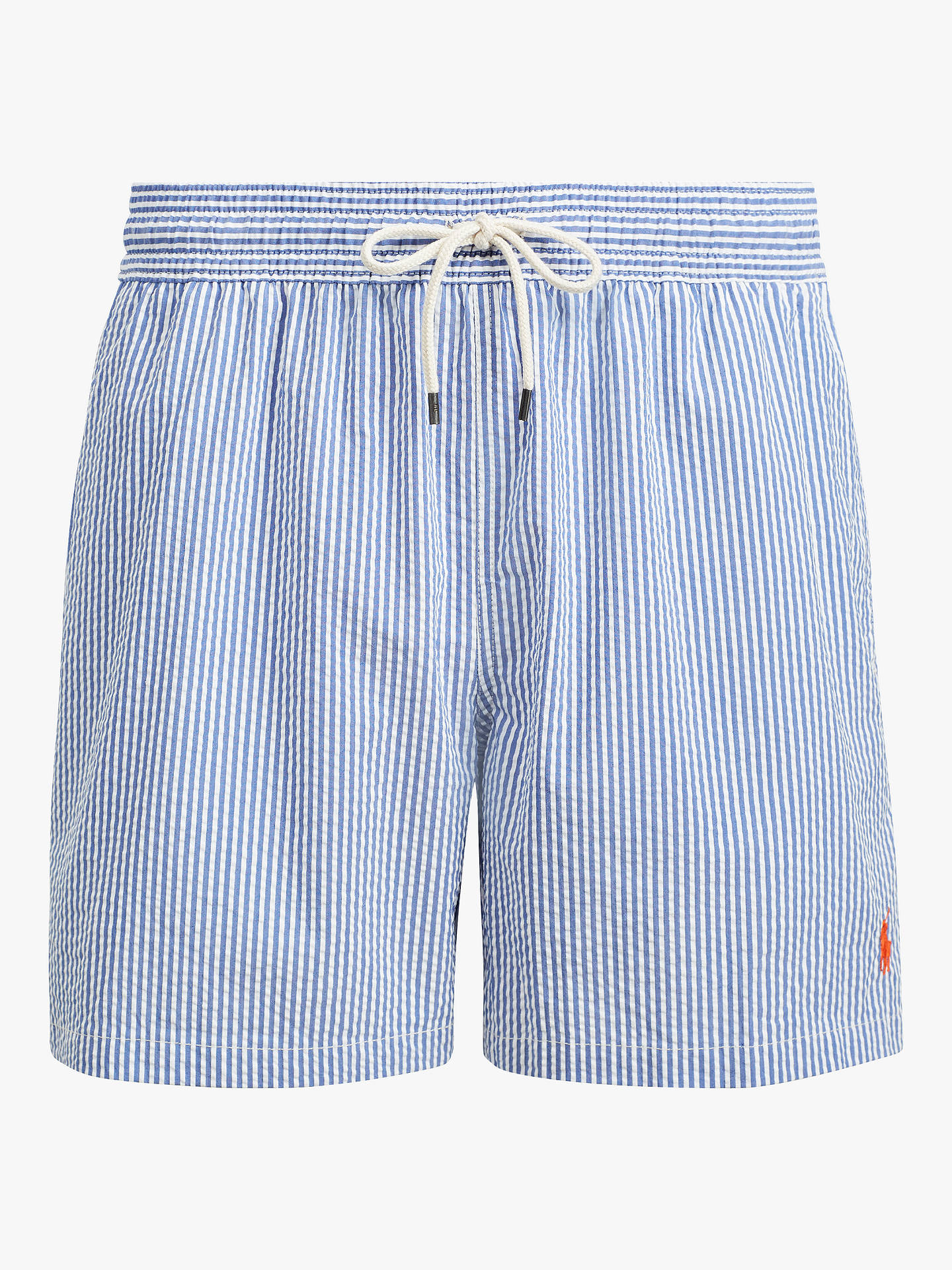 c3ad595b16 Buy Polo Ralph Lauren Seersucker Stripe Swim Shorts, Blue, S Online at  johnlewis.