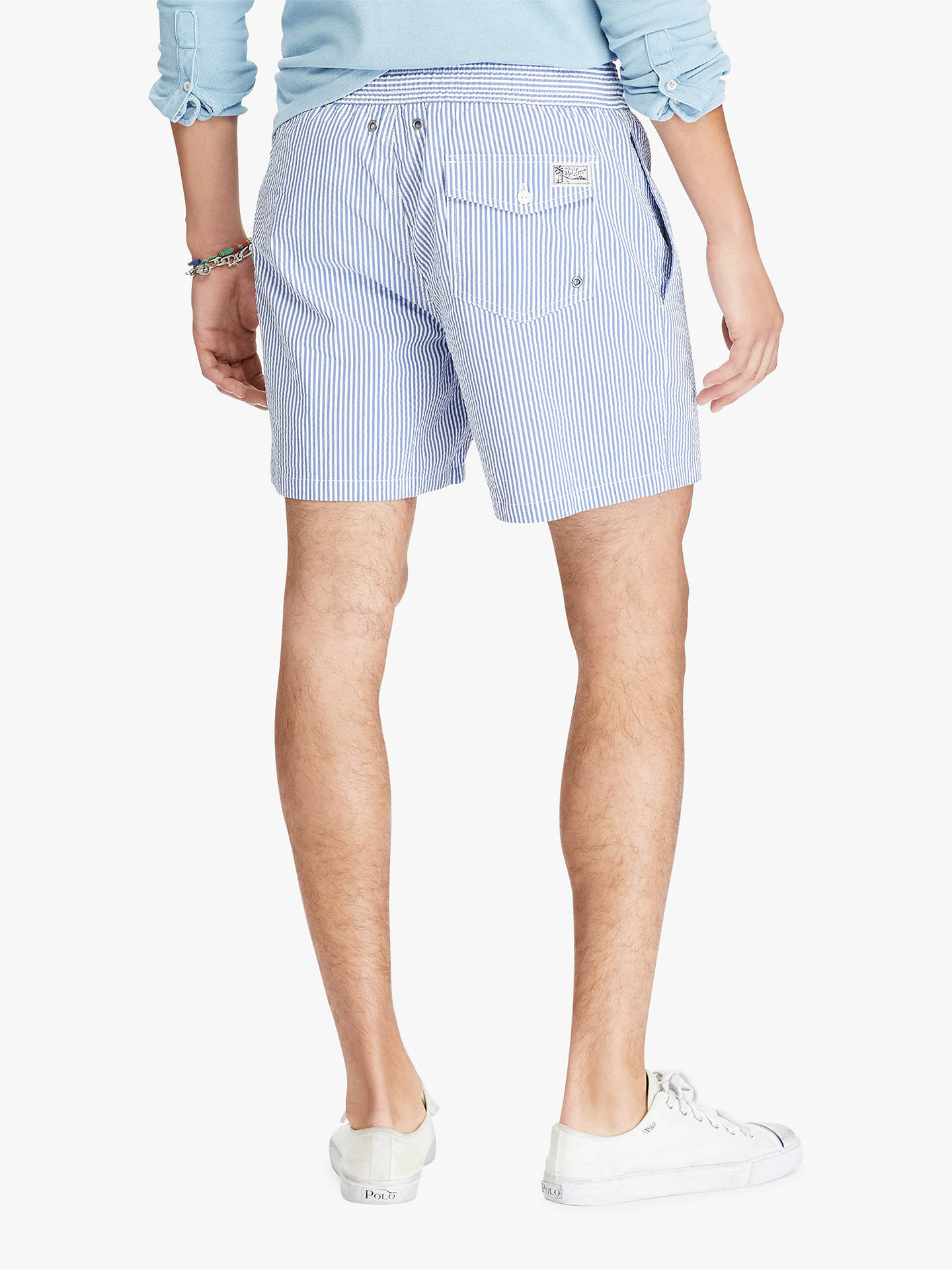 ed08662961 Buy Polo Ralph Lauren Seersucker Stripe Swim Shorts, Blue, S Online at  johnlewis.