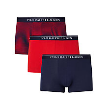 Buy Polo Ralph Lauren Plain and Stripe Trunks, Pack of 3, Red/Navy Online at johnlewis.com