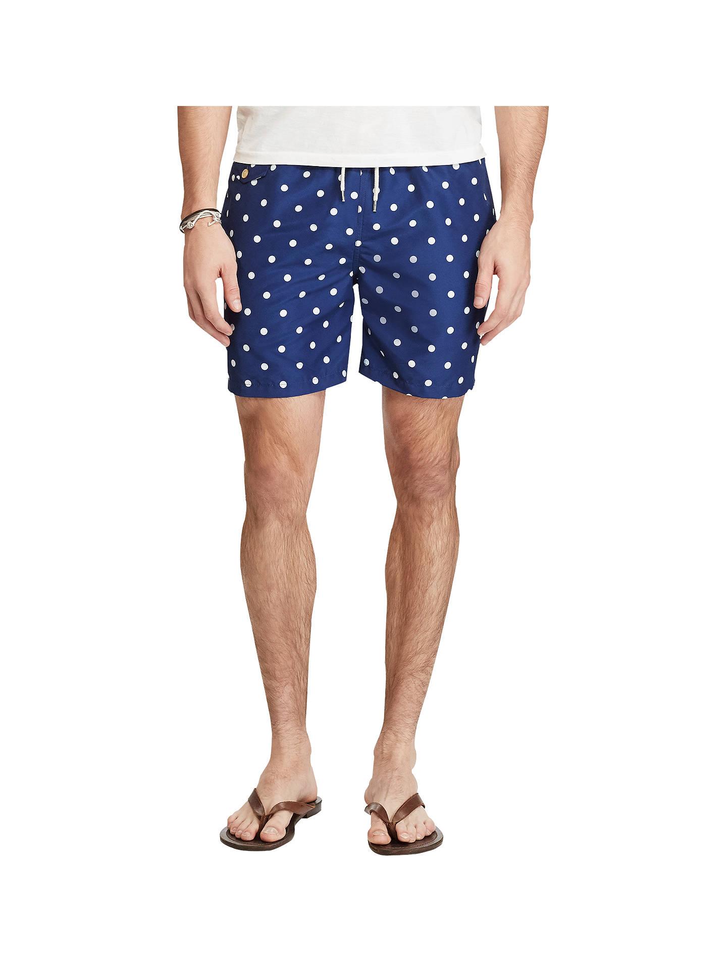 90a053fe47 Buy Polo Ralph Lauren Polka Dot Swim Shorts, Blue, M Online at johnlewis.
