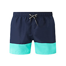 Buy Bjorn Borg Colour Block Swim Shorts, Navy/Turquoise Online at johnlewis.com