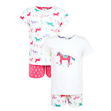 Buy John Lewis Children's Horse Print Pyjamas, Pack of 2, Pink Online at johnlewis.com