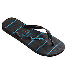 Buy Havaianas Top Stripe Flip Flops, Black/Blue Online at johnlewis.com