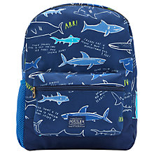 Buy Little Joule Children's Shark Facts Patch Rucksack, Navy Online at johnlewis.com