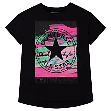 Buy Converse Girls' In The Clouds Printed T-Shirt, Black Online at johnlewis.com