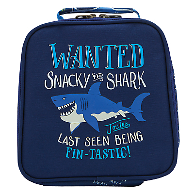 Little Joule Children's Shark Print Munch Lunch Box Bag, One size, Navy