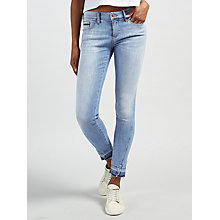 Buy Calvin Klein Mid Rise Skinny Twisted Ankle Jeans, Unusual Blue Online at johnlewis.com
