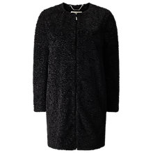 Buy Jacques Vert Petite Astrakan Coat, Black Online at johnlewis.com