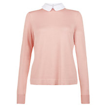 Buy Hobbs Bryony Jumper, Pale Pink/White Online at johnlewis.com