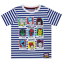 Buy Marvel Children's Striped Superheroes Print T-Shirt, Blue/Multi Online at johnlewis.com