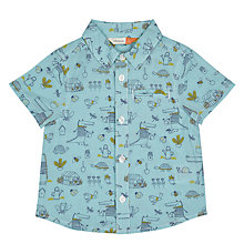 Buy John Lewis Baby 'Crocodile in Garden' Print Shirt, Blue Online at johnlewis.com