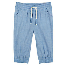 Buy John Lewis Baby Cuba Organic Cotton Chambray Trousers, Blue Online at johnlewis.com