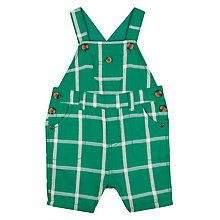 Buy John Lewis Baby Check Bibshorts, Green Online at johnlewis.com