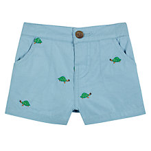 Buy John Lewis Baby Embroidered Turtle Shorts, Blue Online at johnlewis.com